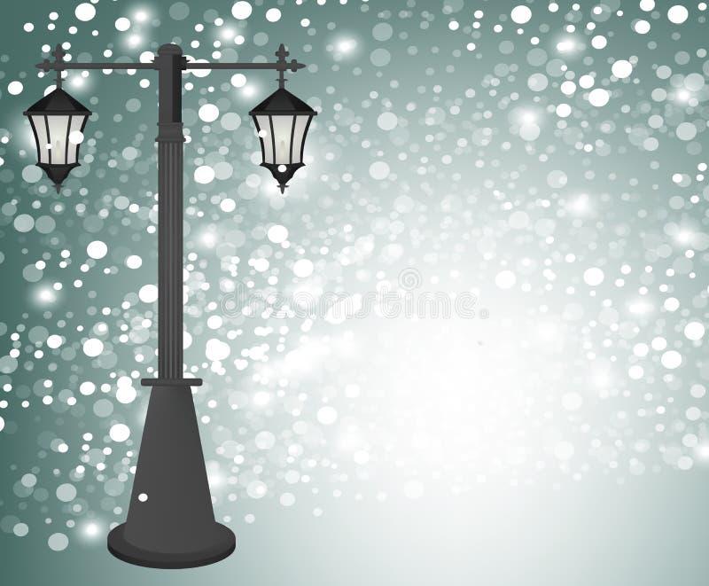 Rocznik latarnia uliczna przy zimy tłem royalty ilustracja