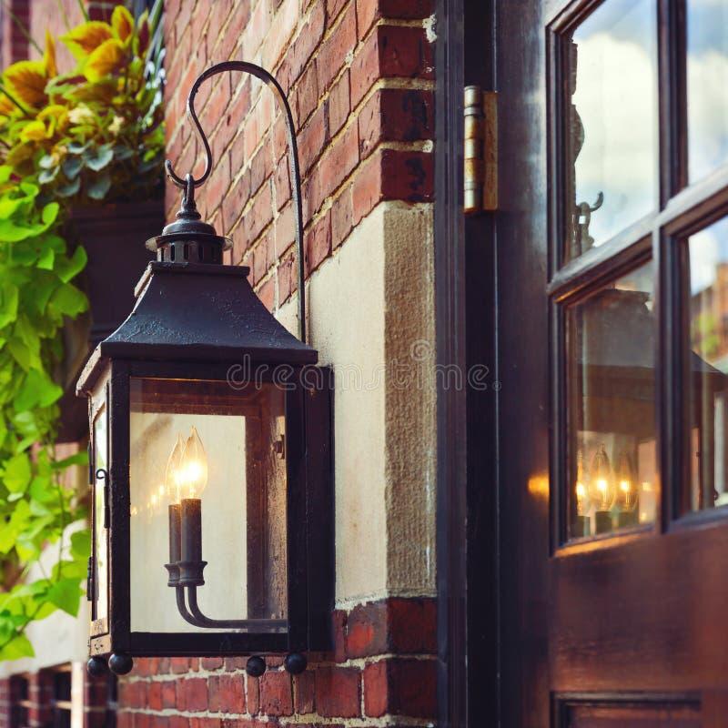Rocznik latarnia uliczna w Boston, msza , USA zdjęcie royalty free