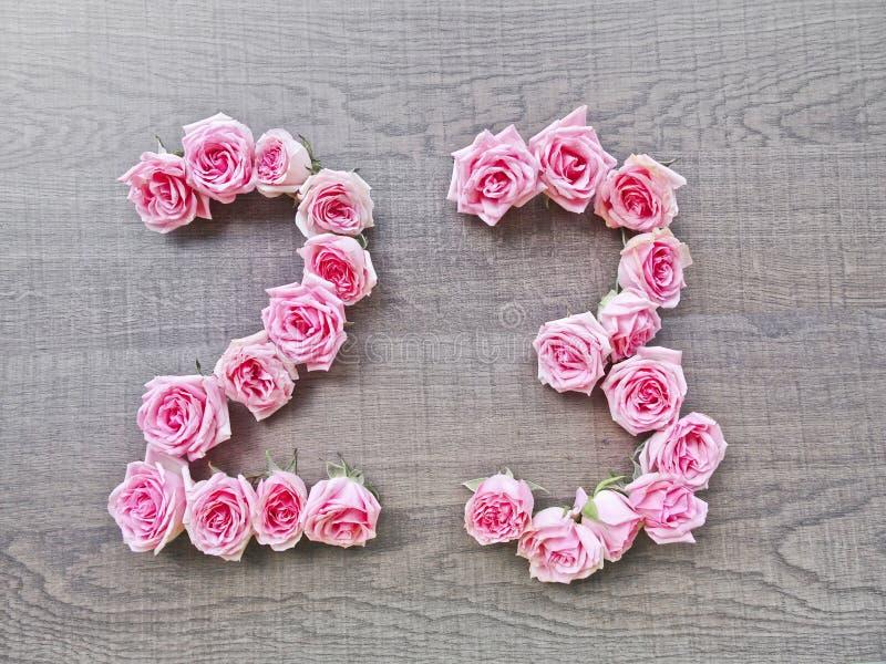 23 - rocznik liczba różowe róże na tle ciemny drewno obraz royalty free
