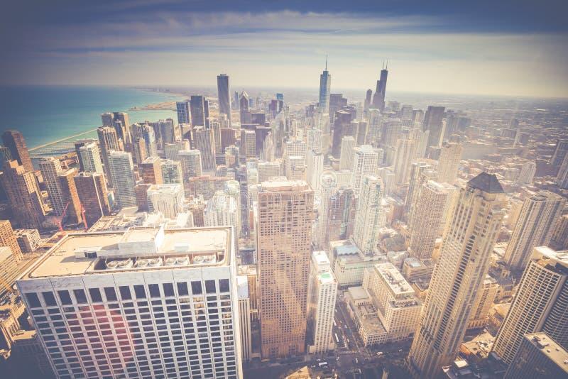 Rocznik linii horyzontu Chicagowski widok z lotu ptaka obraz royalty free
