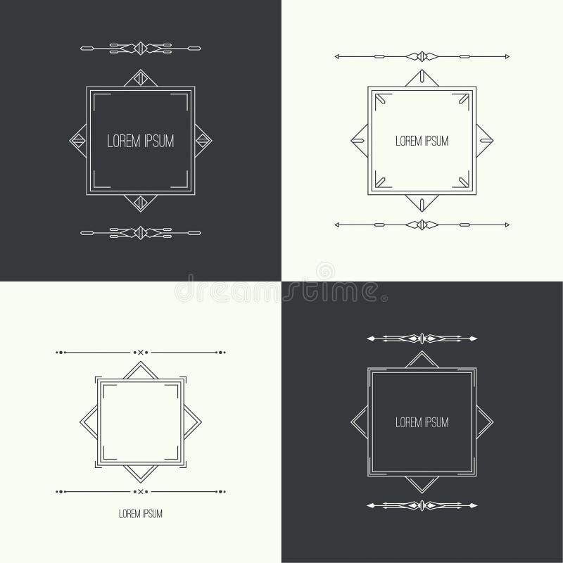 Rocznik liniowa geometryczna rama ilustracji