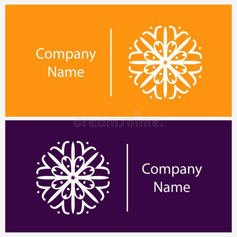 Rocznik Liniowy logotyp kwiat stylizujący Piękni kółkowi logowie royalty ilustracja