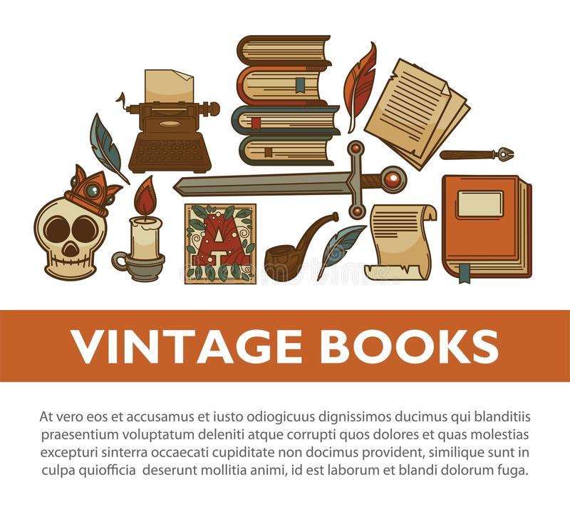 Rocznik literatury starych książek wektorowy plakat pisarskie dutka atramentu pióra maszyna do pisania wektoru ikony ilustracja wektor