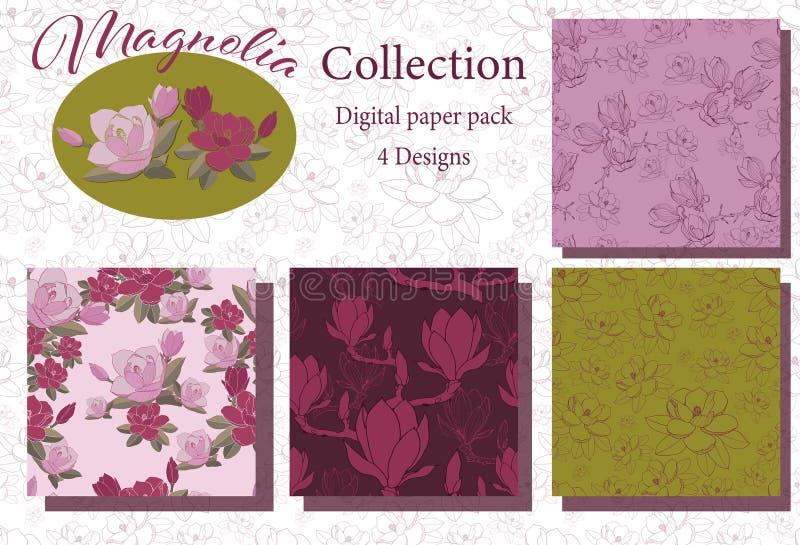 Rocznik magnolii kolekcja ilustracji
