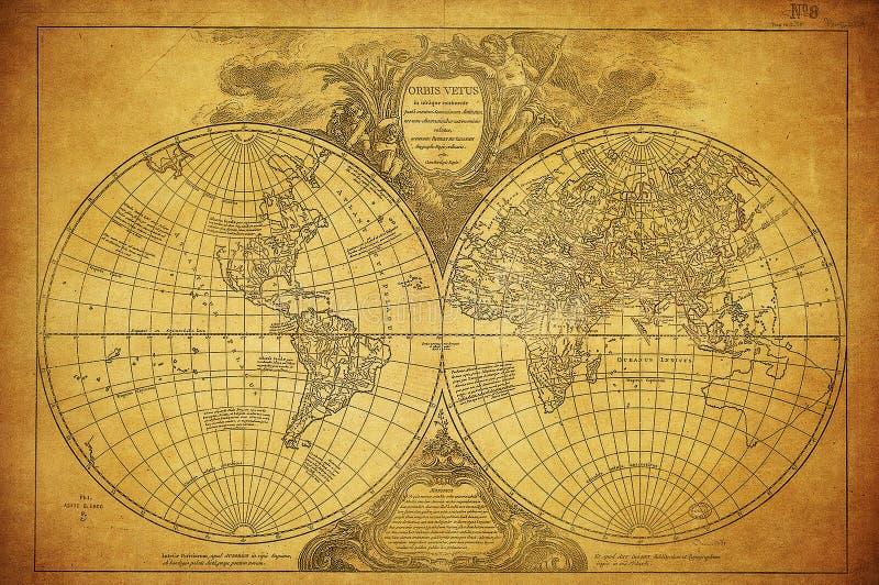 Rocznik mapa światowy 1752 obraz stock
