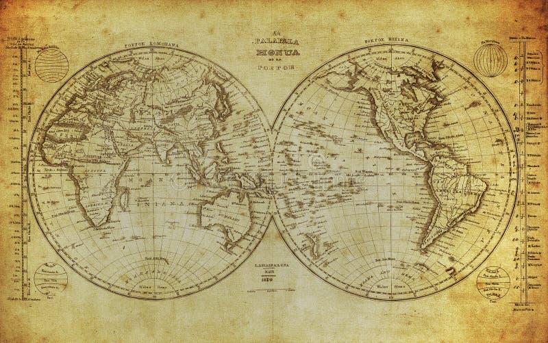 Rocznik mapa światowy 1839 ilustracja wektor