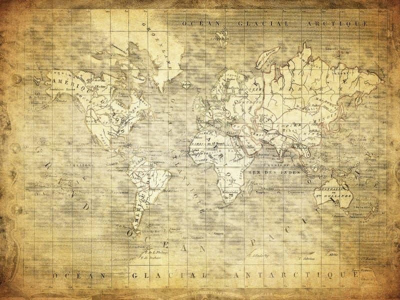 Rocznik mapa światowy 1847 obrazy royalty free