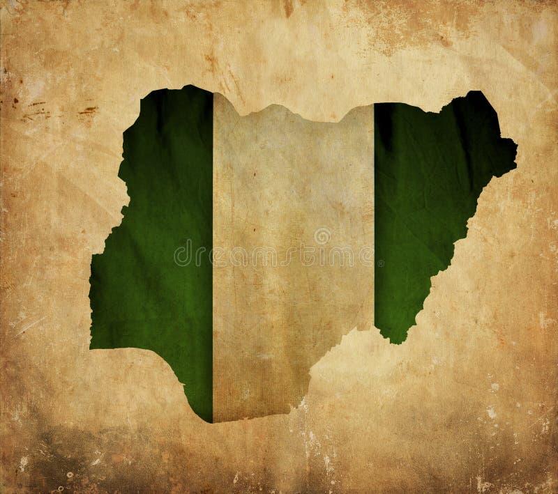 Rocznik mapa Nigeria na grunge papierze obraz stock