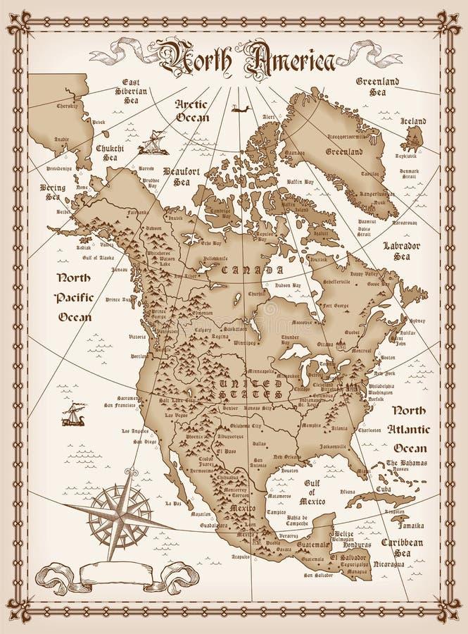 Rocznik mapa Północna Ameryka ilustracja wektor
