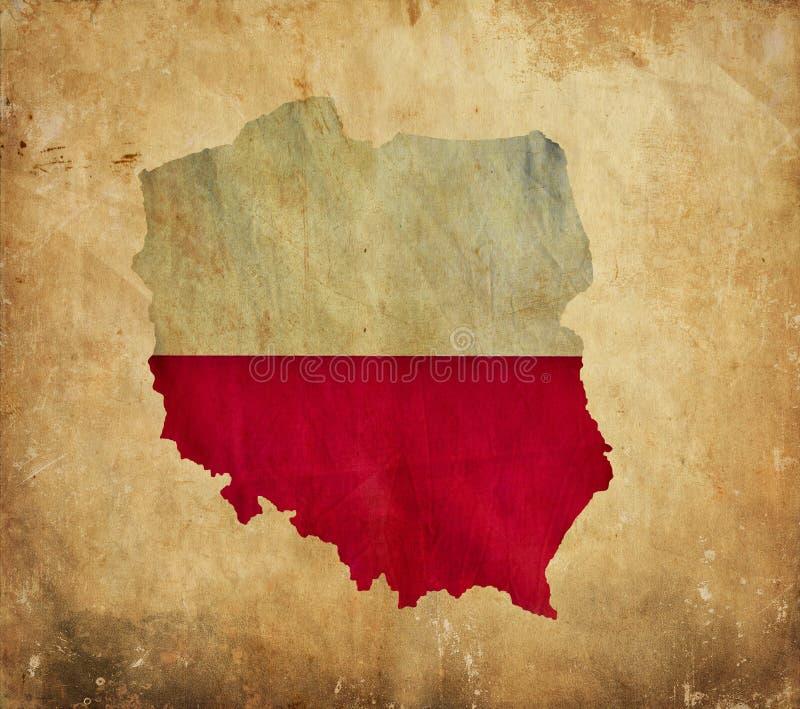 Rocznik mapa Polska na grunge papierze zdjęcia royalty free