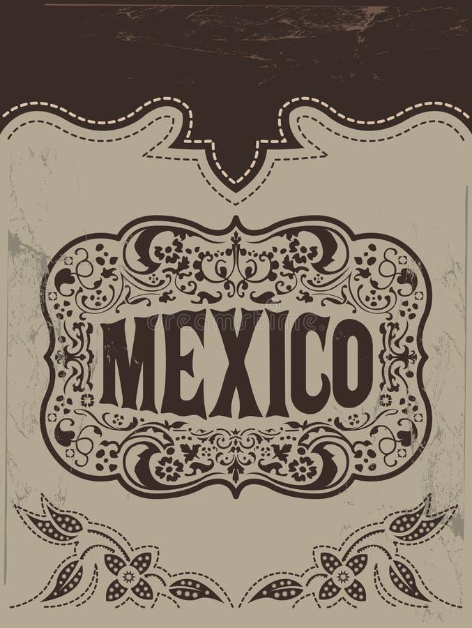 Rocznik Meksyk - meksykański wektorowy plakat ilustracja wektor