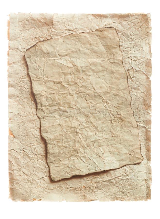 Rocznik miął pustych prześcieradła odizolowywających na bielu papier fotografia stock