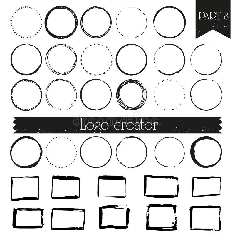 Rocznik, modnisia loga handdrawn elementy z kwadratami i okręgi, ilustracji
