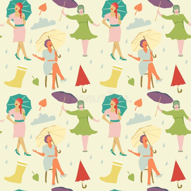 Rocznik mody bezszwowy wzór Beztwarzowe kobiety z Parasolowym tłem ilustracji