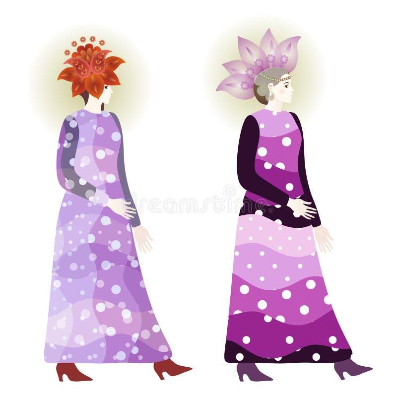 Rocznik mody dziewczyny w polki kropce ubierają i kwieciści Paisley kapelusze ilustracji