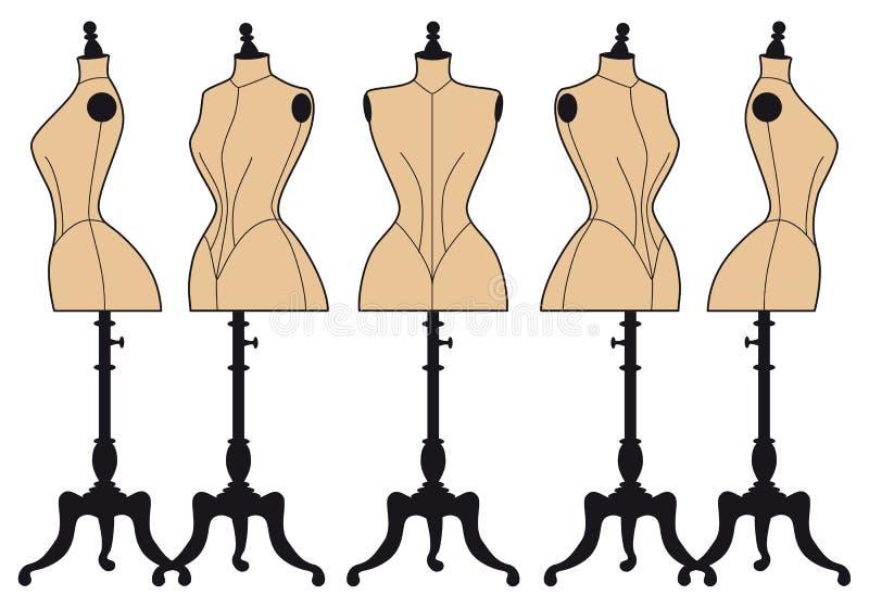 Rocznik mody mannequins, wektoru set royalty ilustracja