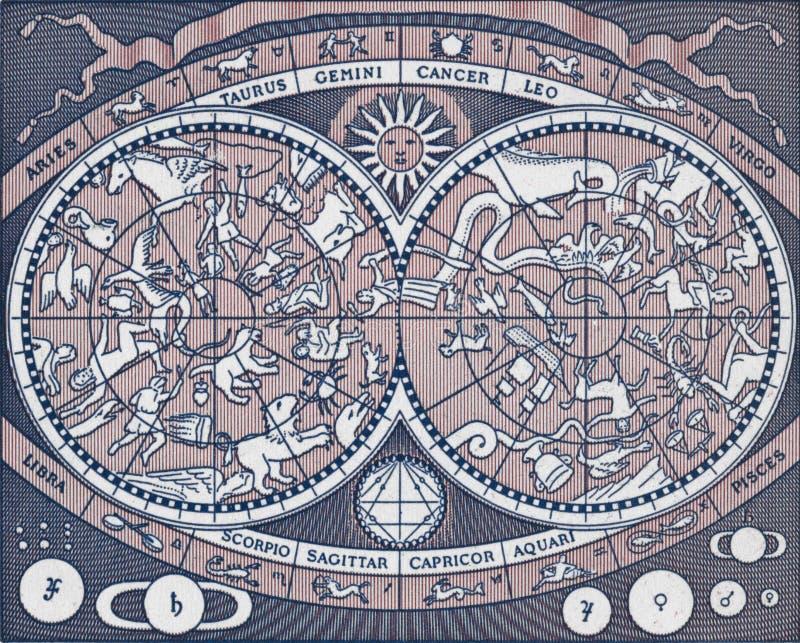 Rocznik niebiańska mapa przedstawia planety, gwiazdozbiory i znaka, obraz stock
