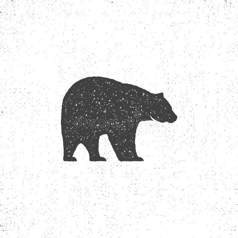 Rocznik niedźwiadkowa maskotka, symbol lub ikona w szorstkim sylwetka stylu, monochromatyczny projekt Może używać dla koszulek dr royalty ilustracja