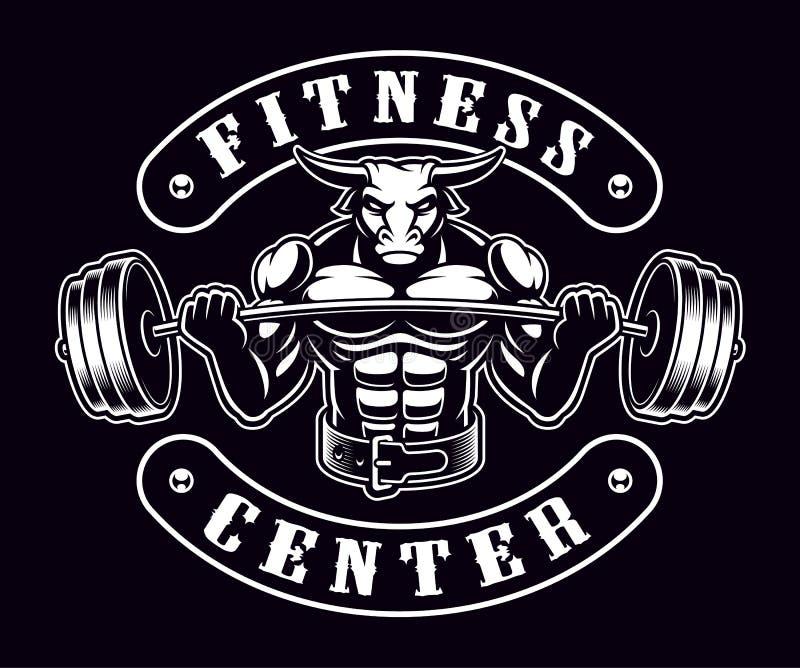Rocznik odznaka byka bodybuilder na ciemnym tle ilustracja wektor