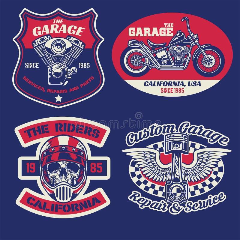 Rocznik odznaka ustawiająca motocyklu pojęcie royalty ilustracja