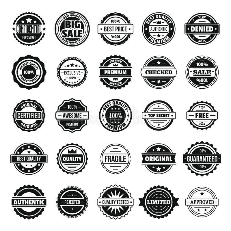 Rocznik odznaki i etykietek ikony ustawiają, prosty styl ilustracji