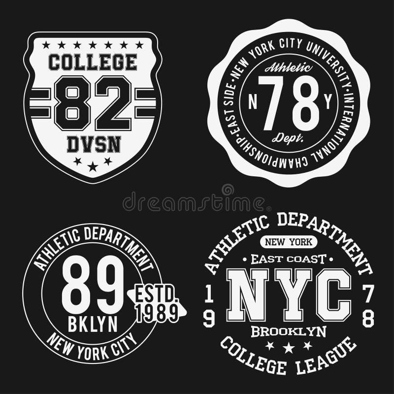 Rocznik odznaki ustawiają, sportowego sporta typografia dla t koszulowego druku Uniwerku styl Koszulki grafika royalty ilustracja