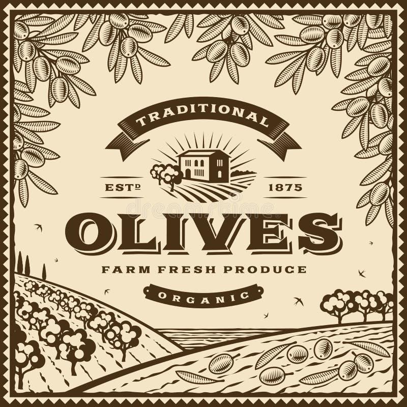 Rocznik oliwek brown etykietka ilustracji