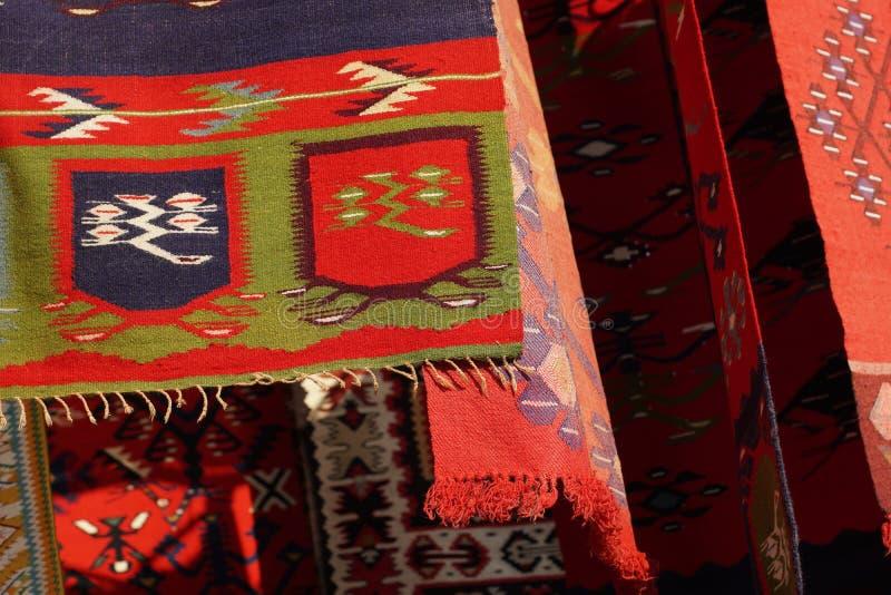 Rocznik, orientalny, kolorowy handmade tradycyjny woolen dywanik, obrazy royalty free