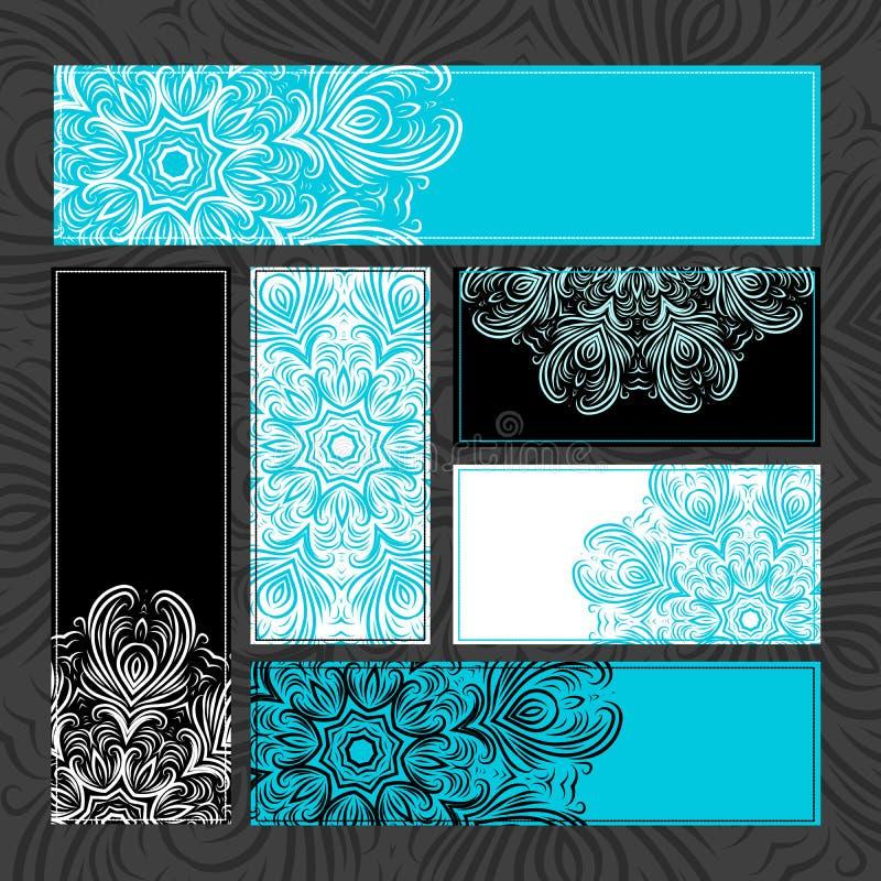Rocznik ornamentacyjne karty dla twój projekta royalty ilustracja