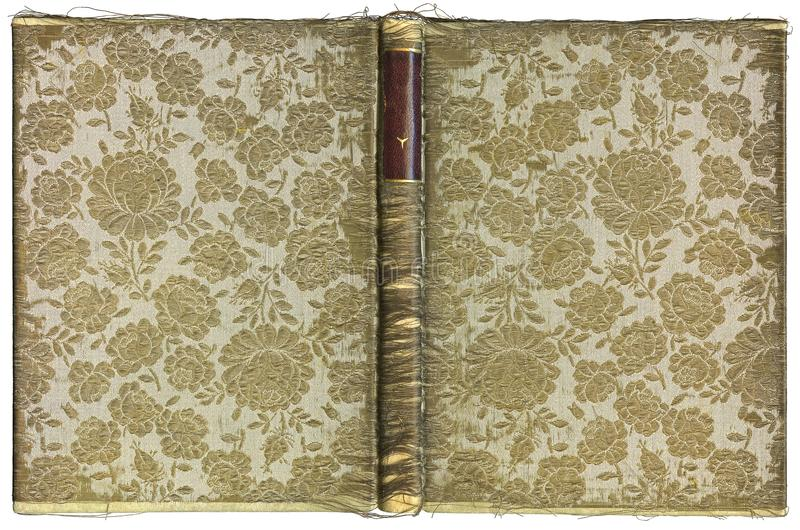 Rocznik otwarta książkowa pokrywa z kwiecistym wzorem około 1905 - XL rozmiar - tkanina haftująca z złocistą nicią - fotografia royalty free