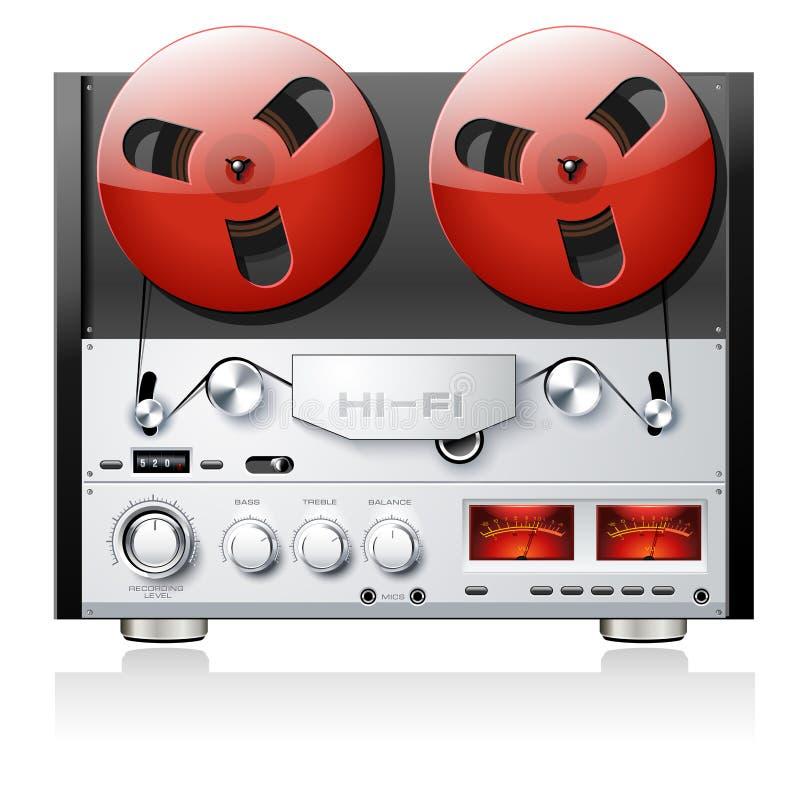 Rocznik otwartej rolki taśmy pokładu analogowy stereo gracz r royalty ilustracja
