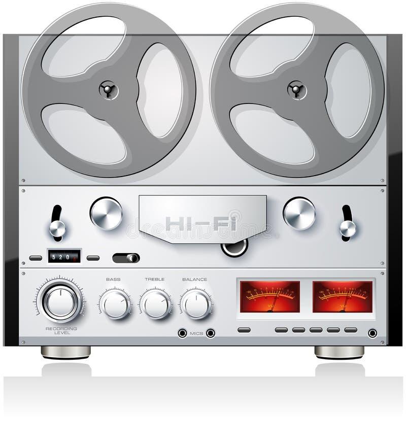 Rocznik otwartej rolki taśmy pokładu analogowy stereo gracz r ilustracja wektor