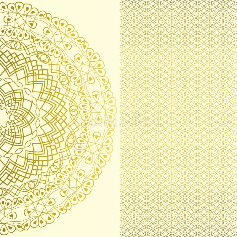 Rocznik ozdobna karta w orientalnym stylu Wschodni kwiecisty wystrój Islam, język arabski, Indiańscy motywy royalty ilustracja