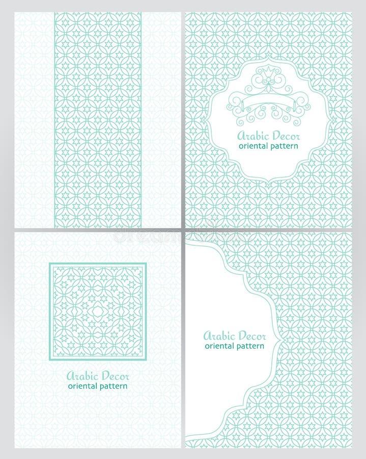 Rocznik ozdobne karty w orientalnym stylu Złoty tradycyjny arabski wystrój ilustracji