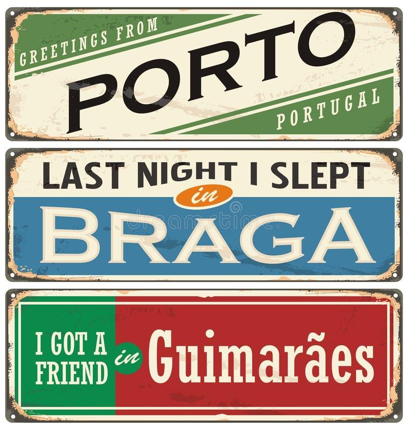 Rocznik pamiątki szyldowi lub pocztówkowi szablony z Portugalia miastami ilustracji