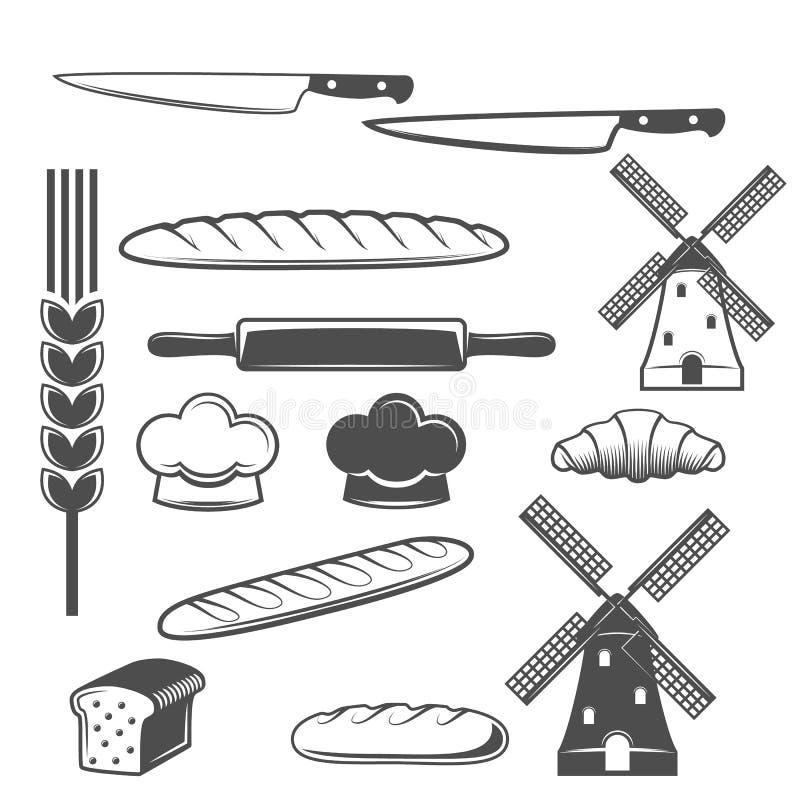 Rocznik piekarni loga retro odznaka lub etykietka ilustracji