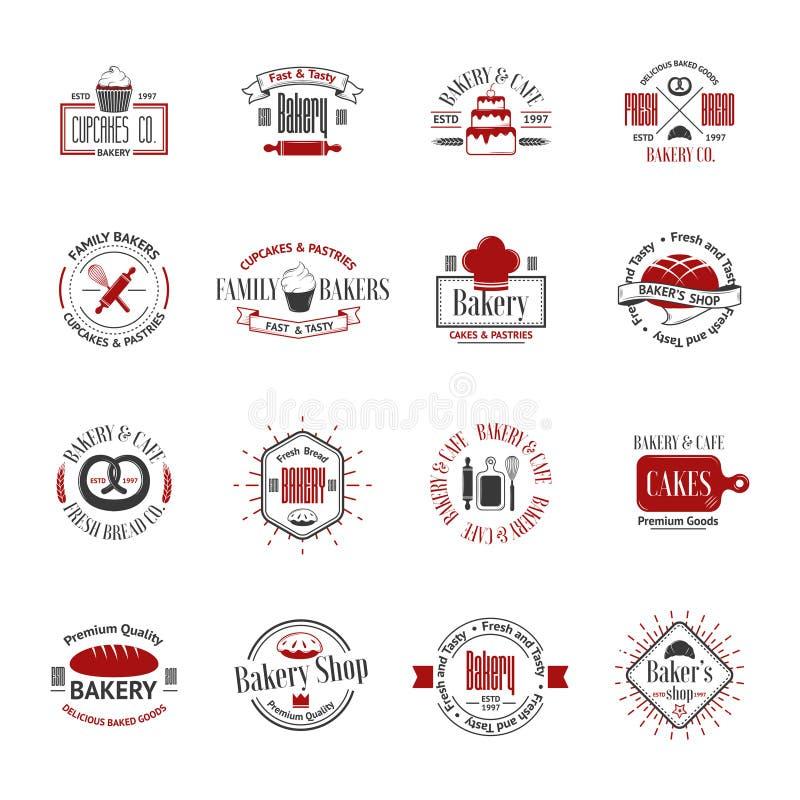 Rocznik piekarni odznaki, etykietki i logowie, ilustracja wektor