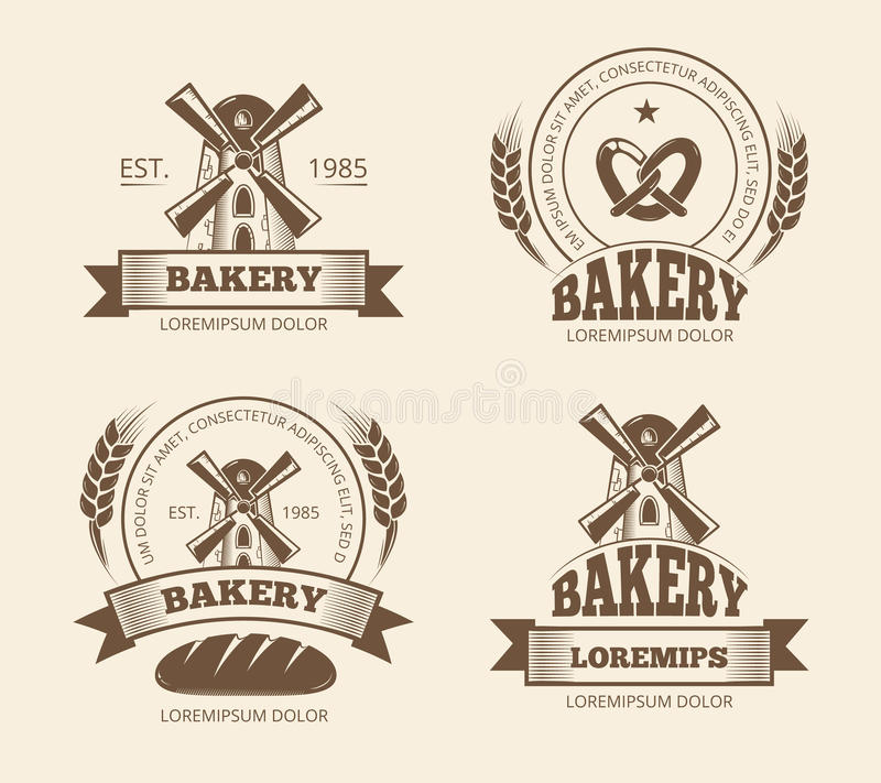 Rocznik piekarnia i chlebów sklepowi logowie przylepiamy etykietkę odznaka emblematy ilustracja wektor