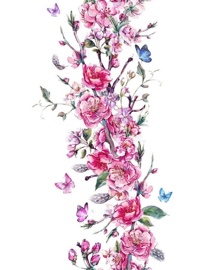Rocznik pionowo wiosny bezszwowa granica ilustracja wektor