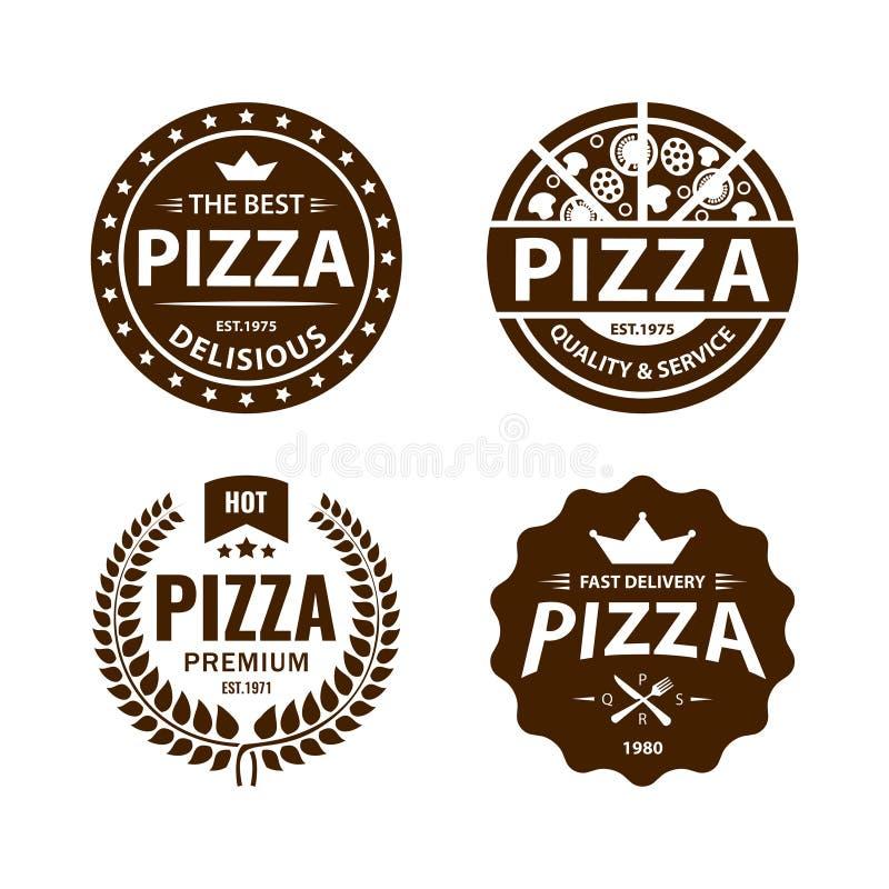 Rocznik pizzy wektorowy logo, etykietka, odznaka set royalty ilustracja