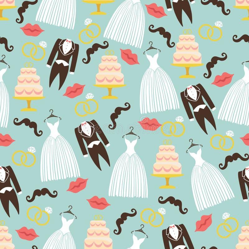 Rocznik poślubia bezszwowego wzoru set Smoking, suknia, tort ilustracja wektor
