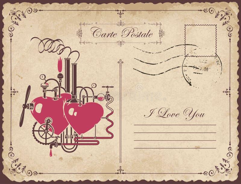 Rocznik pocztówka temat deklaracja miłość ilustracja wektor