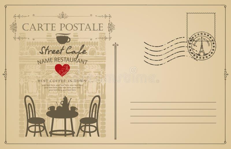 Rocznik pocztówka z Francuską uliczną kawiarnią ilustracja wektor