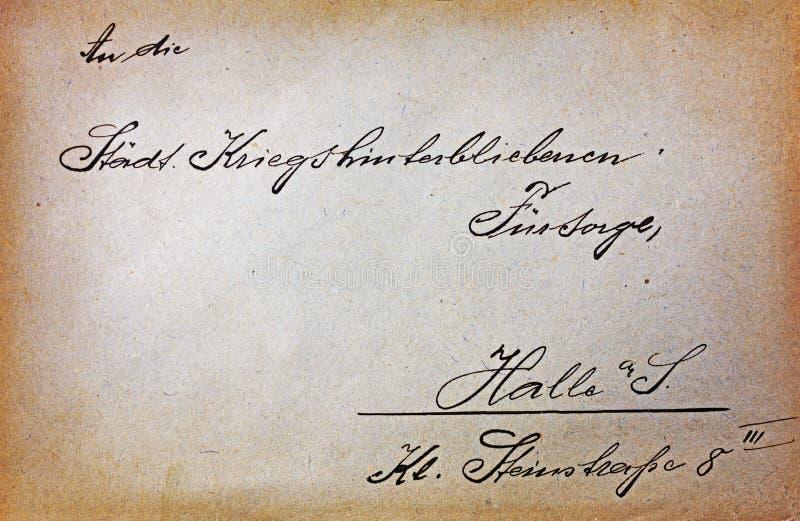 Rocznik pocztówka z handwriting tekstem fotografia stock