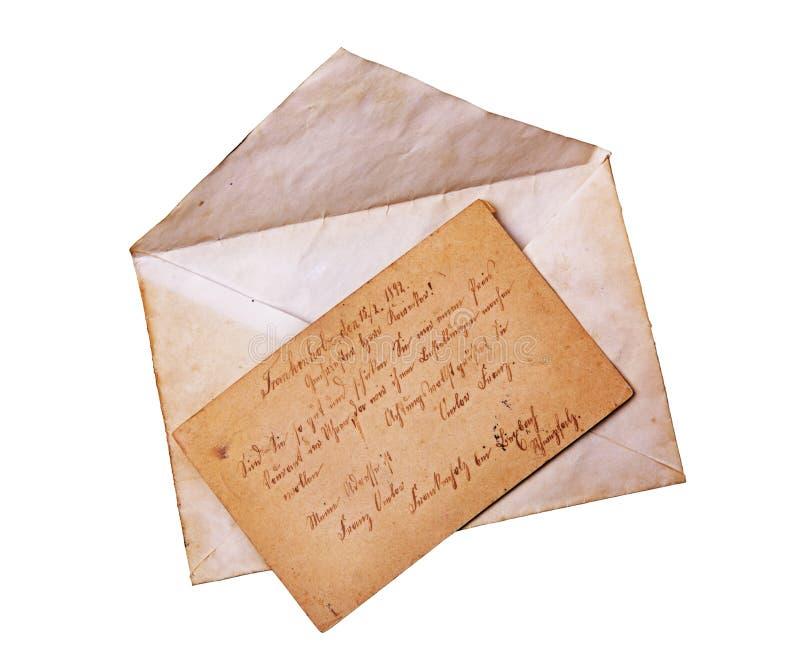 Rocznik pocztówka z handwriting tekstem i koperta obraz stock