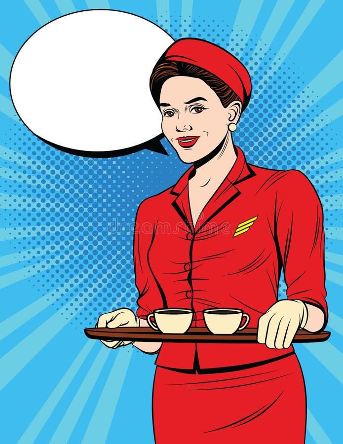 Rocznik pocztówka z młodą dziewczyną wewnątrz w czerwień munduru porci pasażerach ilustracja wektor