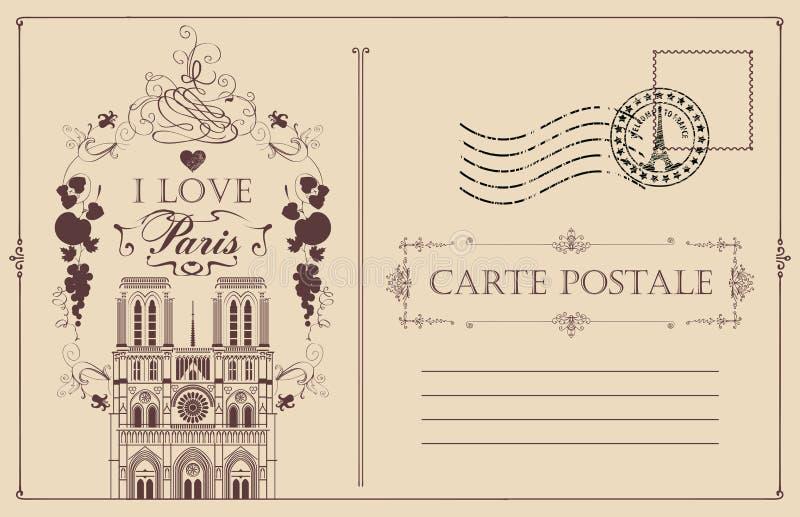 Rocznik pocztówka z notre dame de paris royalty ilustracja