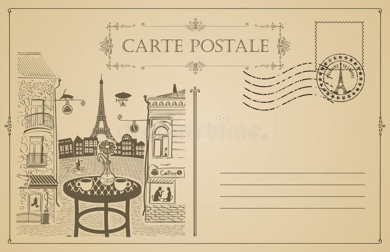 Rocznik pocztówka z uliczną kawiarnią i wieżą eifla ilustracja wektor