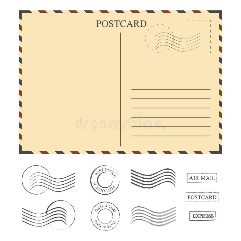 Rocznik pocztówka z znaczkami, szablon setów znaczki ilustracji