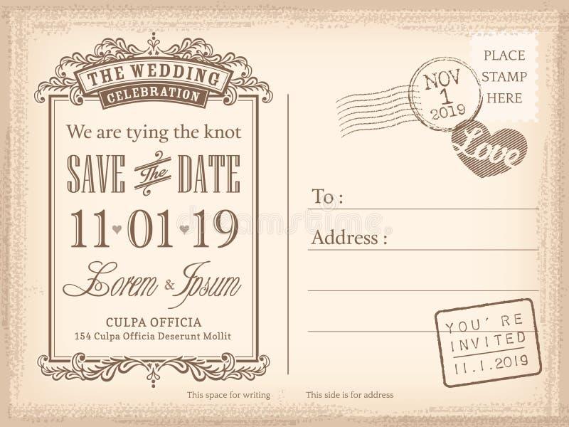 Rocznik pocztówki save daktylowy tło dla ślubnego zaproszenia ilustracji